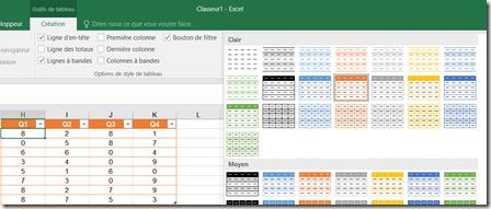 Menu Création Tableau Excel