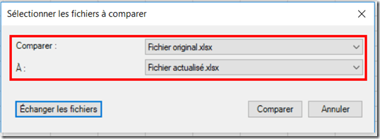 Excel - Inquire - Comparer les fichiers