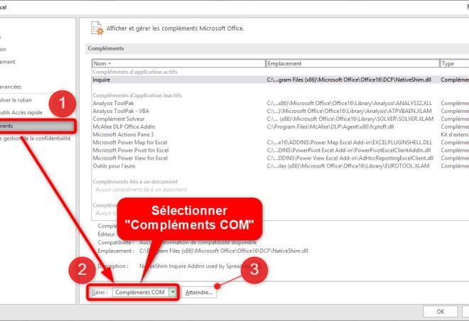 Excel - Option Excel - Compléments COM