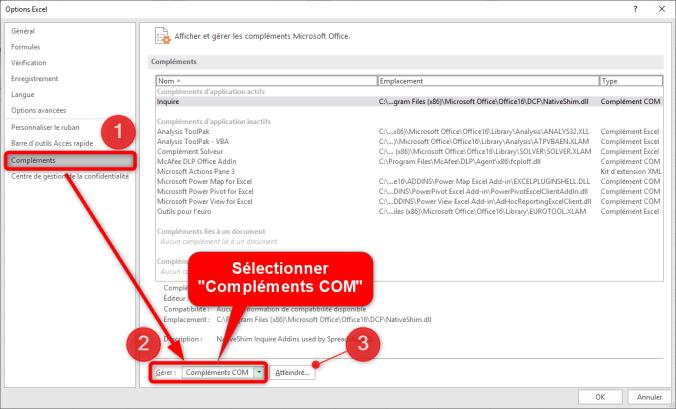 Comparer deux fichiers Excel - Option Excel - Compléments COM