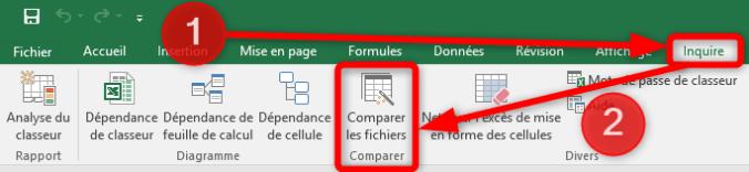 Comparer deux fichiers Excel - Ruban Inquire