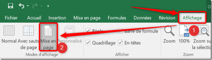 Excel - Zone d'impression - Passage en mode mise en page