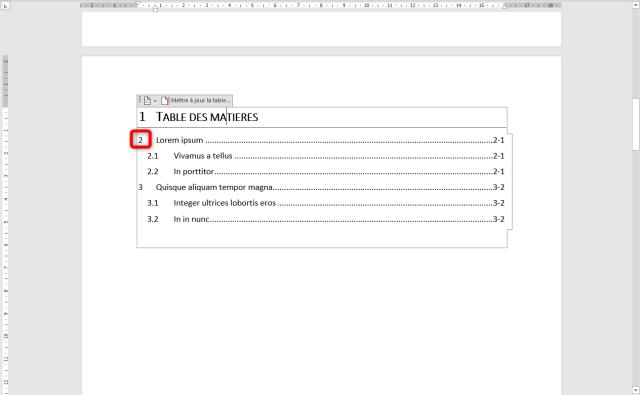 Faire un sommaire sur Word - Numerotation des titres
