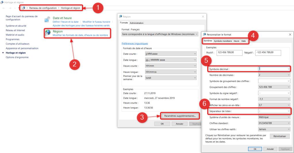 Fichier CSV Excel - Paramètres régionaux