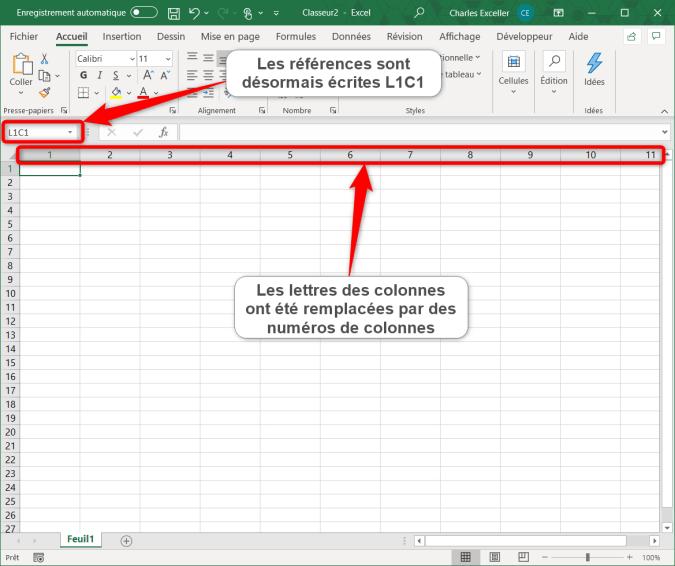 Affichage d'une feuille Excel avec le style L1C1