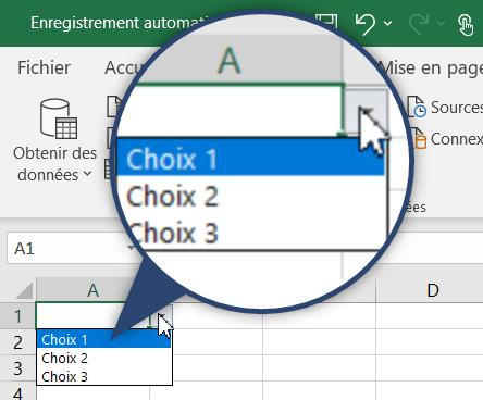 Liste déroulante Excel