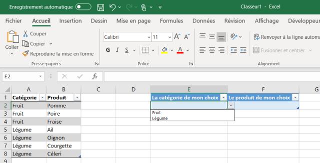 Liste déroulante Excel - Préparation cible