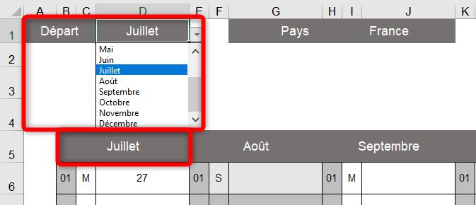 Calendrier Excel 2021 - Choix du mois de départ