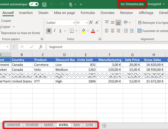 Cas 1 - Feuilles Excel fusionnées