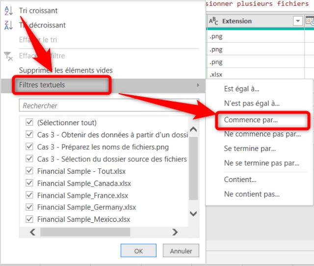 Cas 3 - Filtrer la liste pour sélectionner les fichiers Excel à fusionner - Suite 2