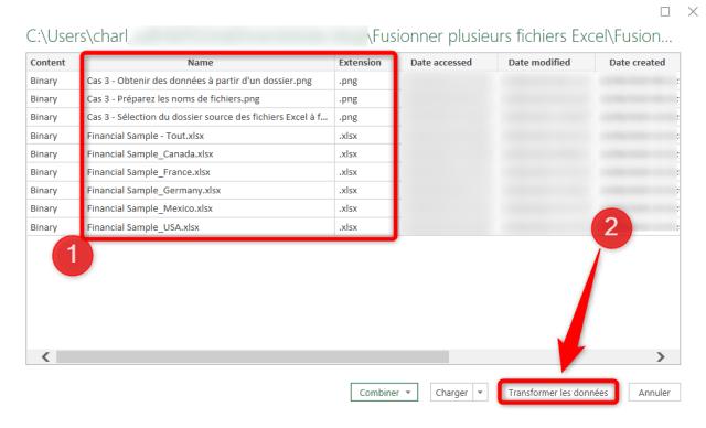 Cas 3 - Filtrer la liste pour sélectionner les fichiers Excel à fusionner