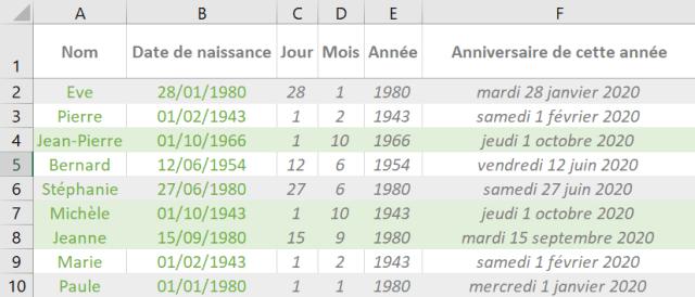 Calcul âge Excel - Première partie