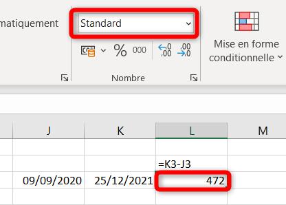 Calcul différence entre deux dates - Format standard
