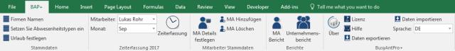 BAP+ Menüband direkt im Excel Menü integriert