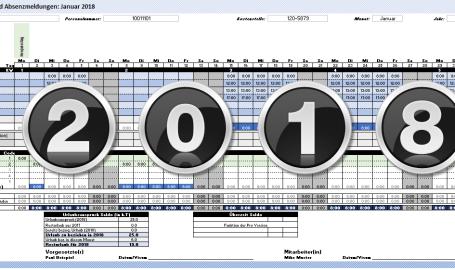2018 Zeiterfassung Excel Vorlage