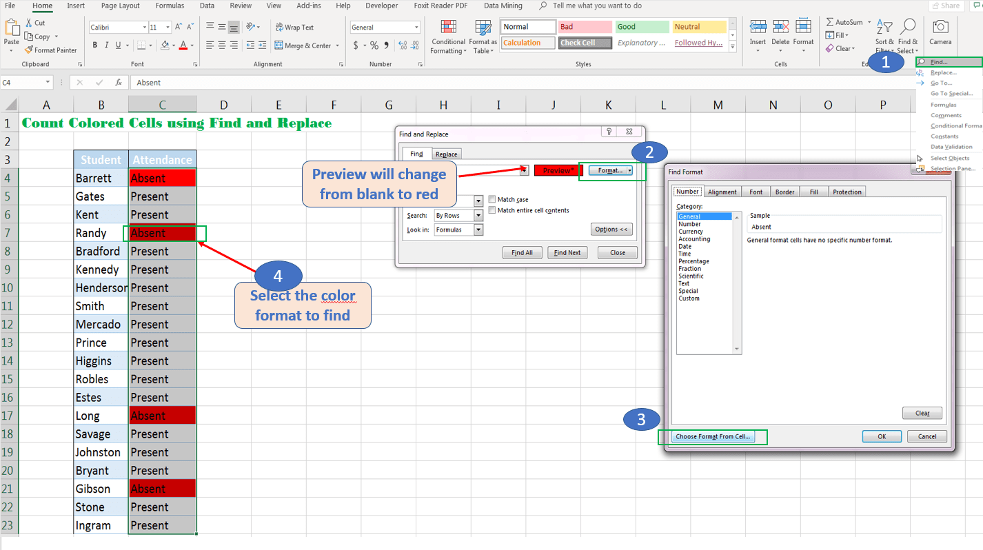 Count Excel Cells With Multiple Colors No Vba