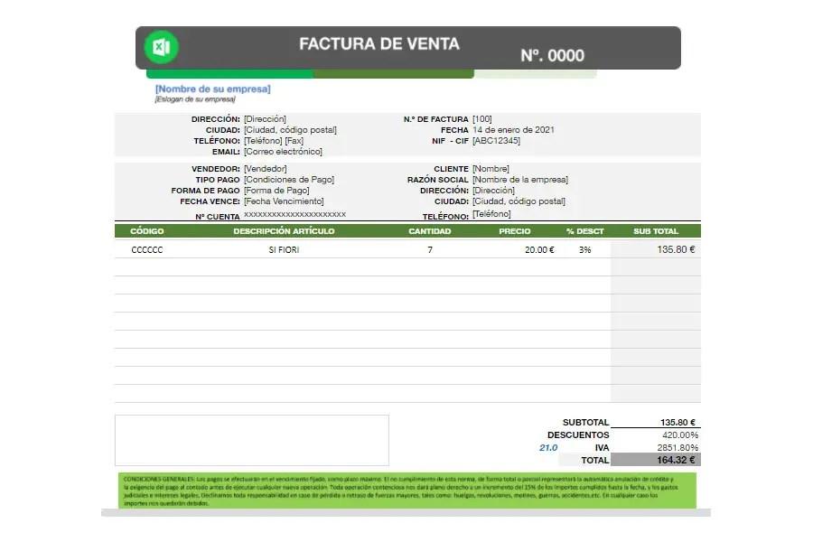 Modelo de factura en Excel