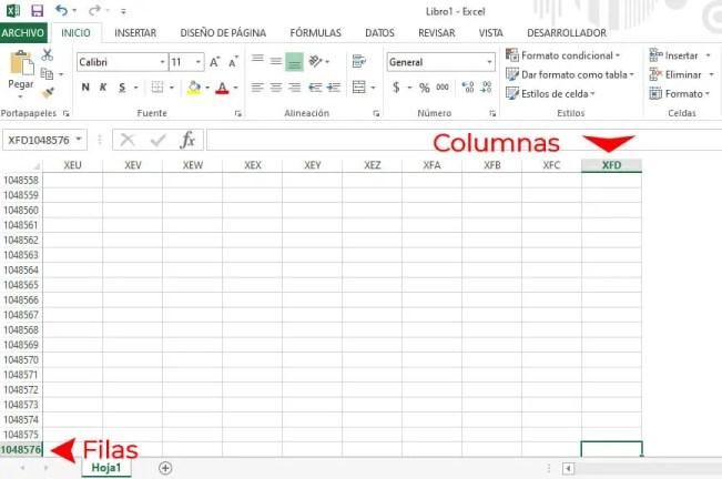 filas y columnas en Excel