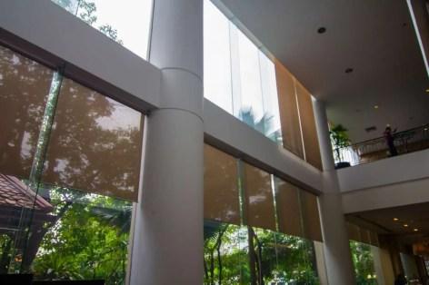 clean windows in a lobby