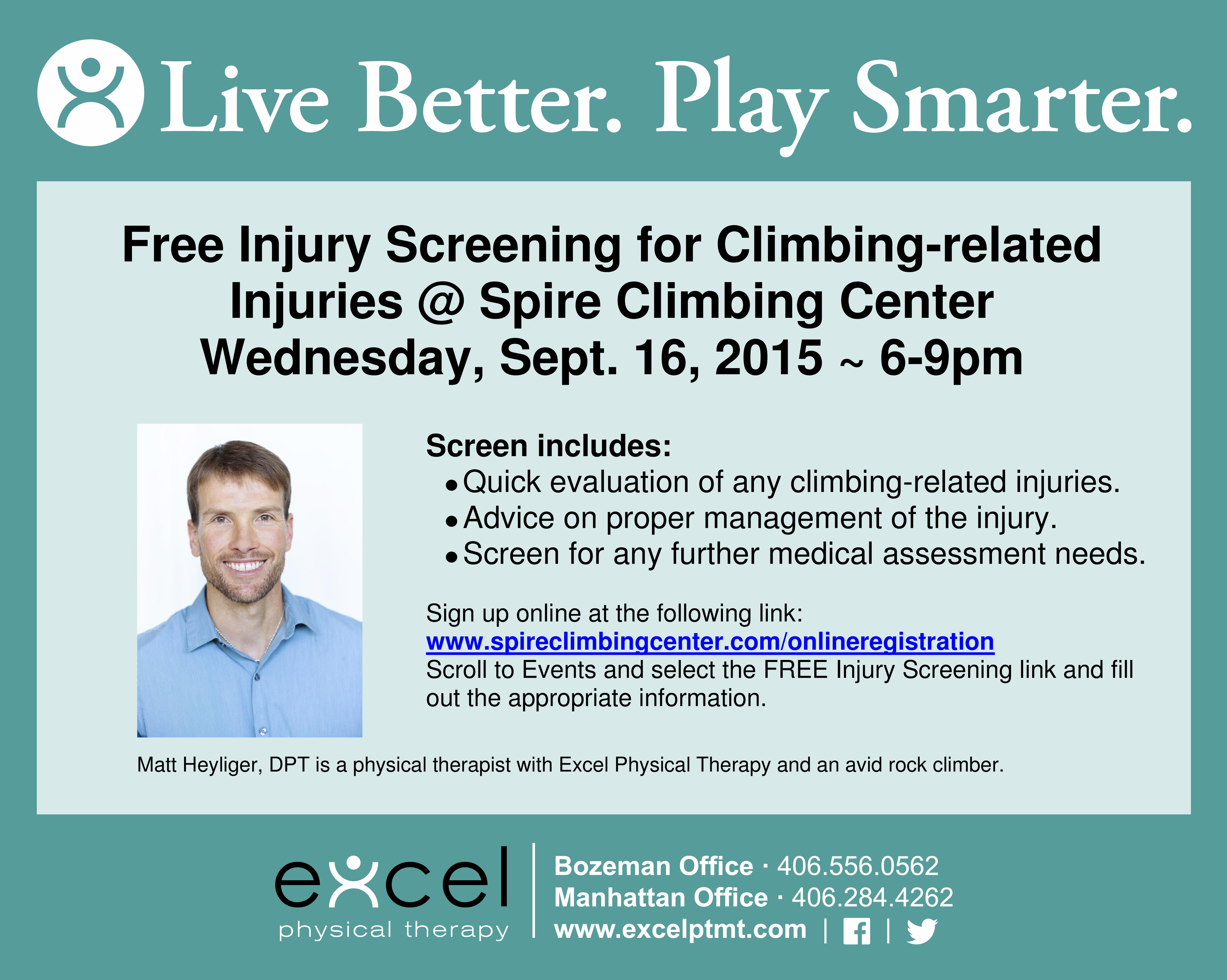 Excel physical therapy - Excel Pt Matt Spire Climbing Injury Screens Facebook Jpeg