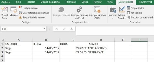 GRABAR EL NOMBRE DE USUARIO DE WINDOWS CUANDO ABRIMOS Y CERRAMOS NUESTRO ARCHIVO EXCEL1