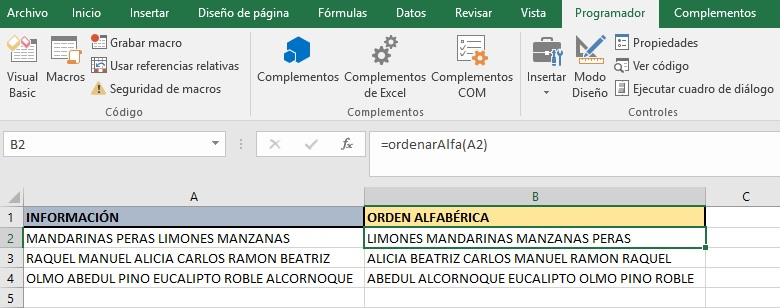 ORDENAR LAS PALABRAS DE UNA CELDA ALFABETICAMENTE1