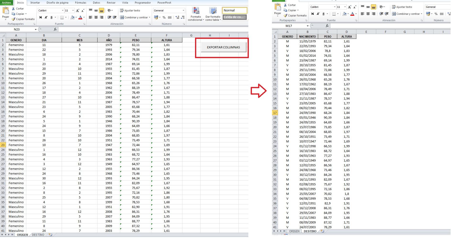 Exportar Columnas De Una Hoja A Otra En Excel