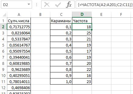 Генератор случайных чисел Excel в функциях и анализе данных