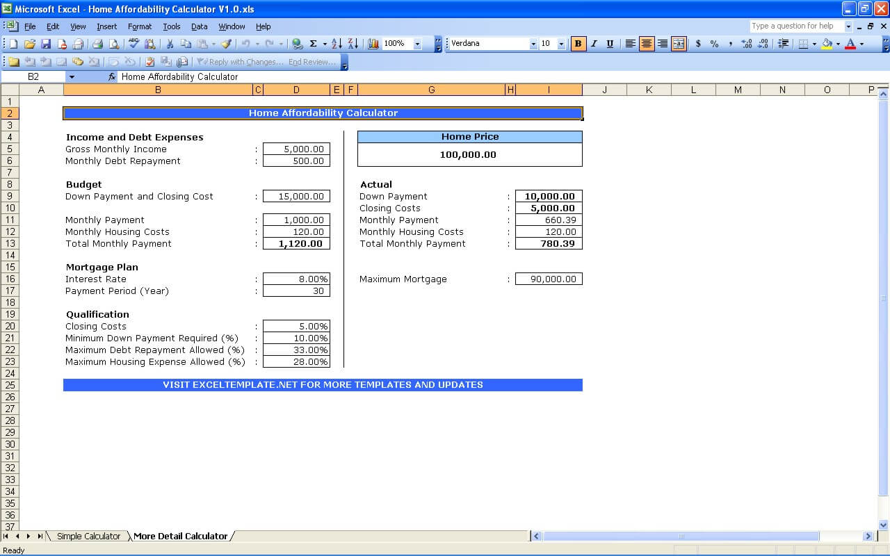 Mortgage Affordability Excel Template