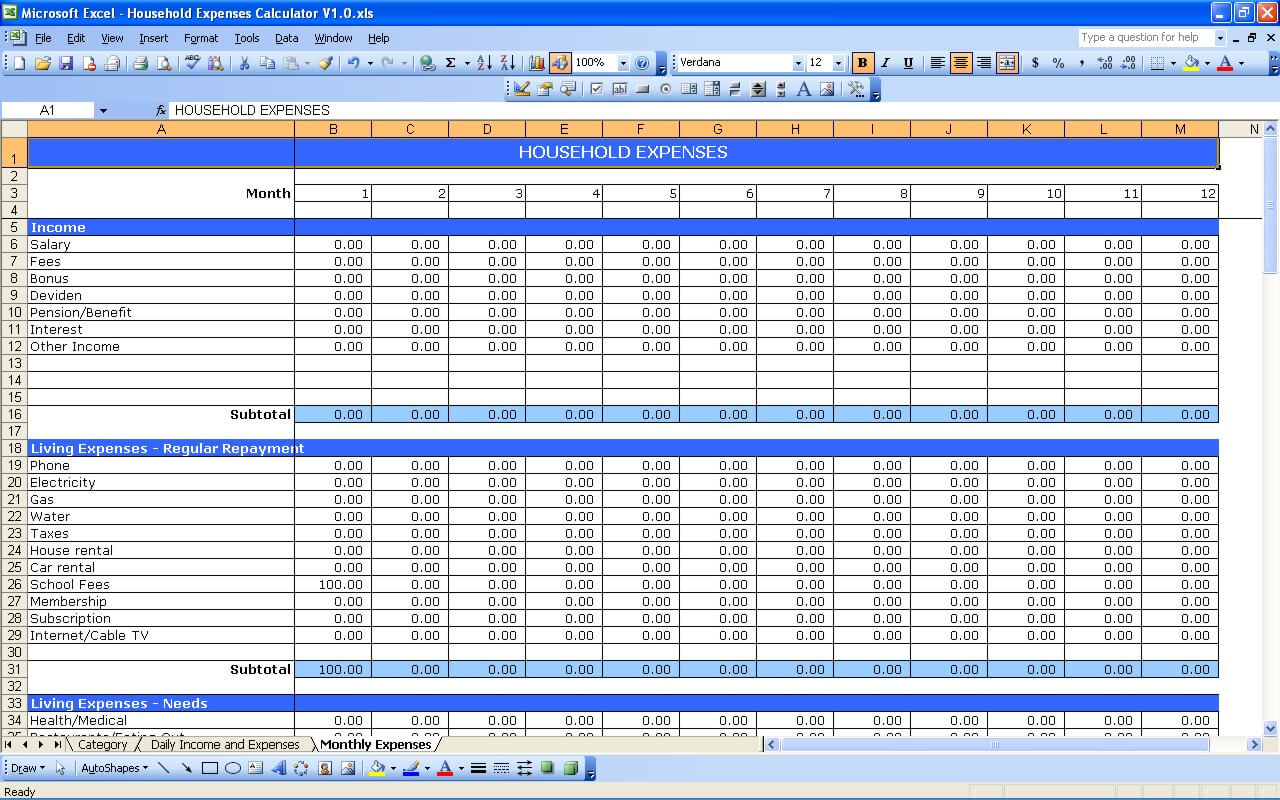 Household Expenses Tracker Exceltemplate