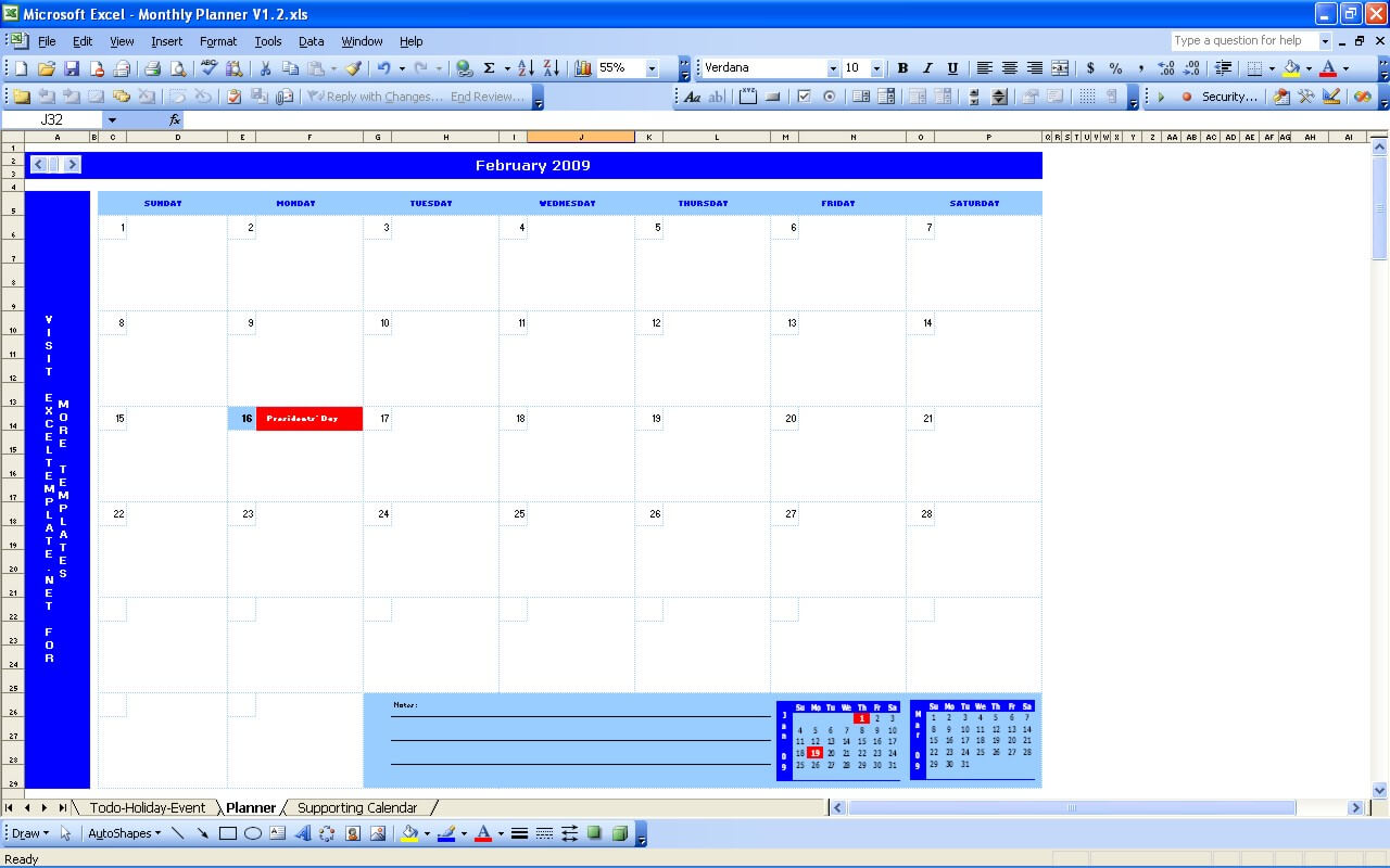 Monthly Planner Exceltemplate