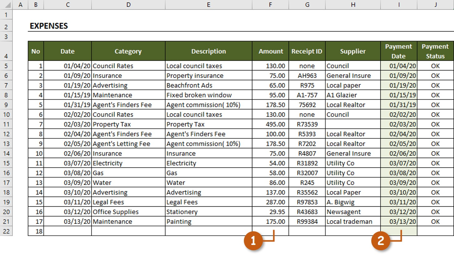 Rental Property Spreadsheet Exceltemplate