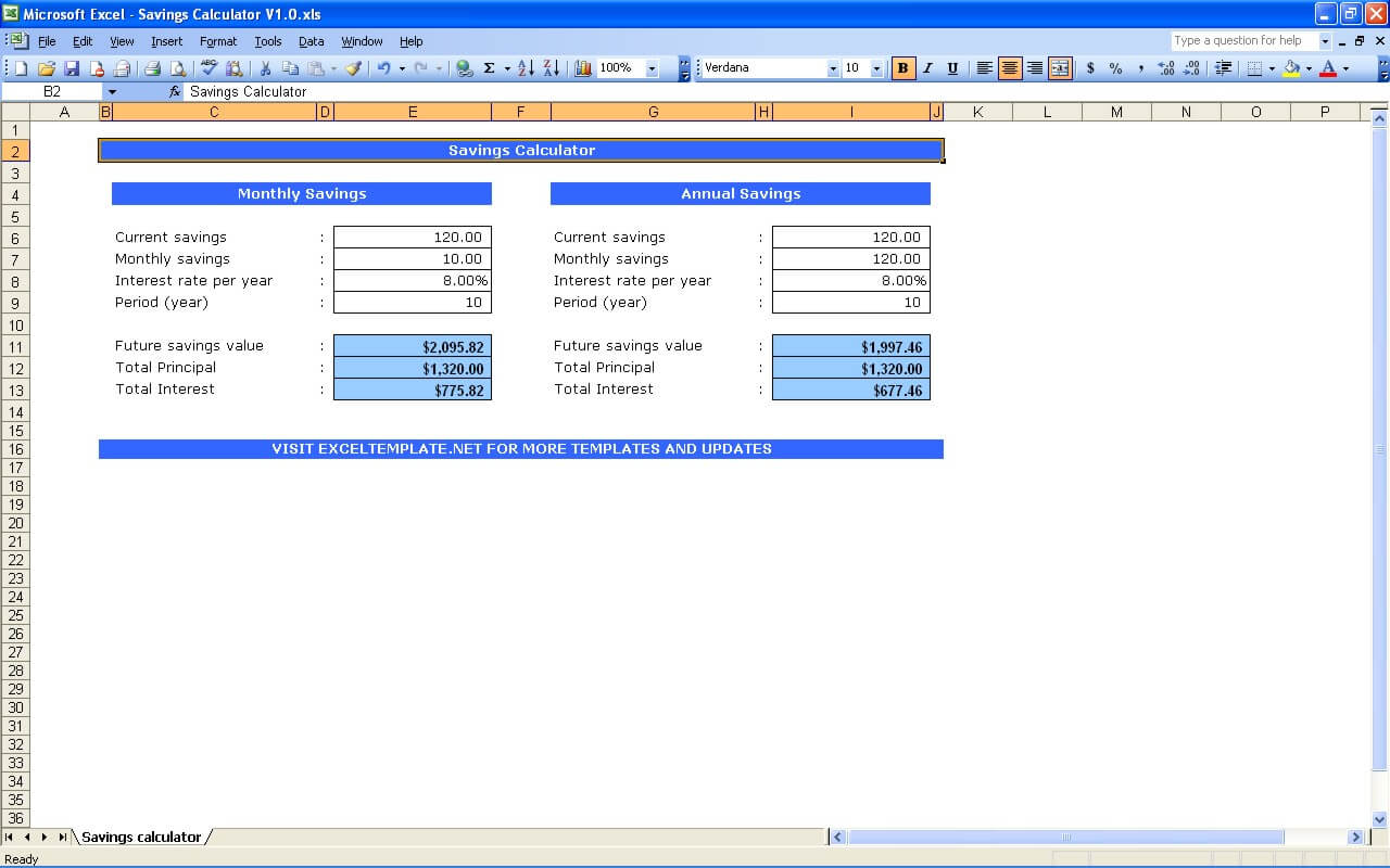 Savings Calculator Exceltemplate