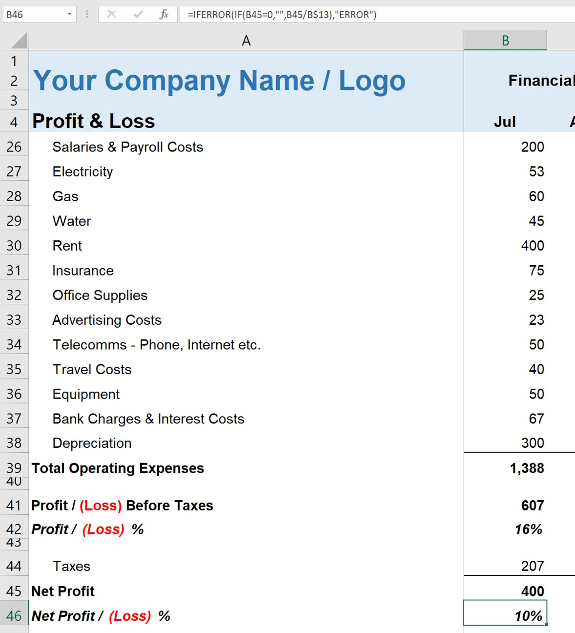 Simple Profit And Loss Statement For The Self Employed