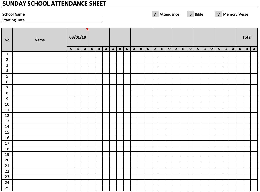 Attendance Sheets Template