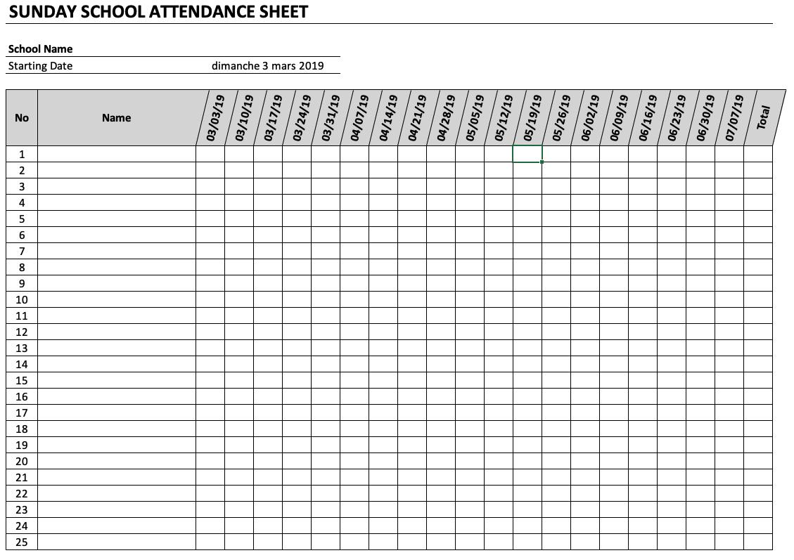 Atendance School Worksheet Printables