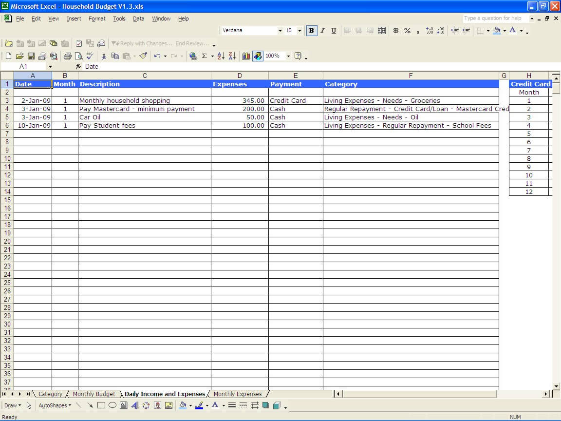 Expense Worksheet Excel
