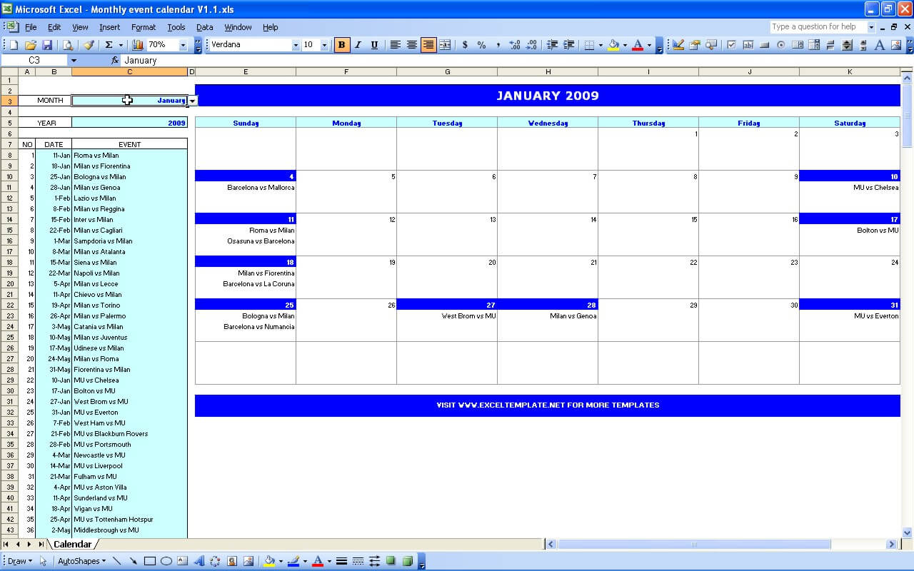 Monthly Event Calendar Exceltemplate
