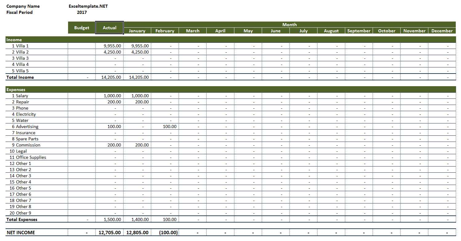 Rooming House Income And Expense Worksheet