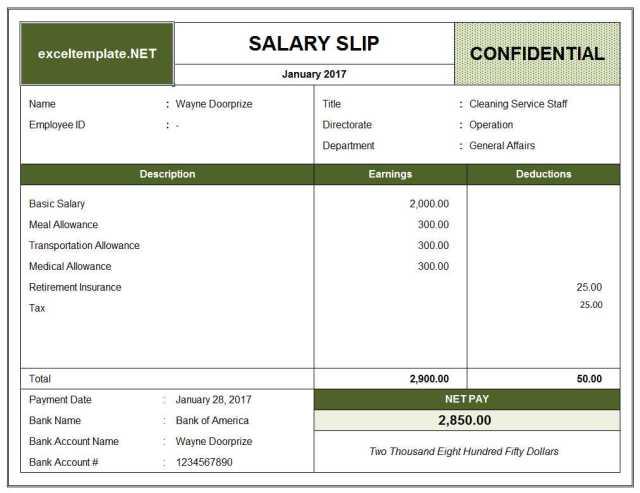 Salary Slip Format - FREE DOWNLOAD