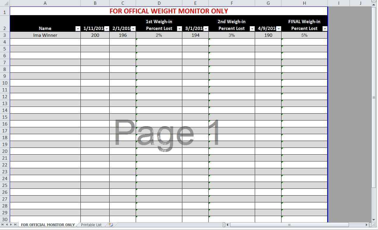 Biggest Loser Spreadsheet