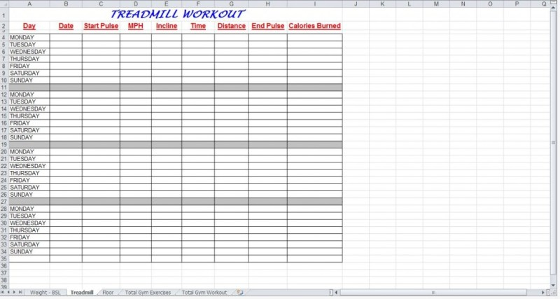 Total Gym Workout Progress Chart  Workout EverydayentropyCom
