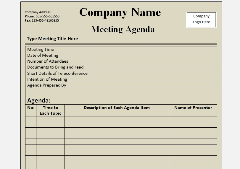 The format would work well for a business or board meeting agenda. Get Agenda Template Word Format Microsoft Excel Templates