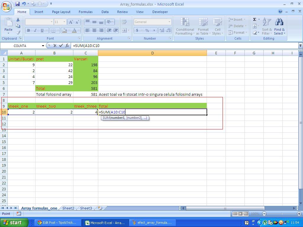 4 Video Tutoriale Cu Array Formulas Functia Sumproduct
