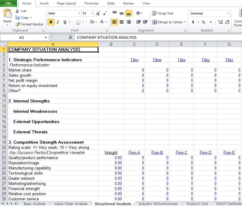 Competitive Analysis Example Template Excel TMP