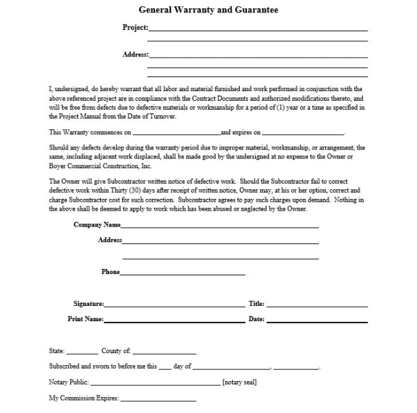 Professional New Construction Home Warranty Template ...