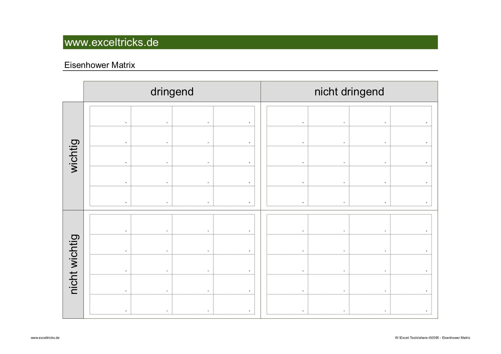 Mit Der Excel Vorlage Eisenhower Matrix Alle Aufgaben Optimal Im Griff Behalten Exceltricks