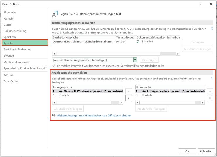 Sprache in Excel einstellen