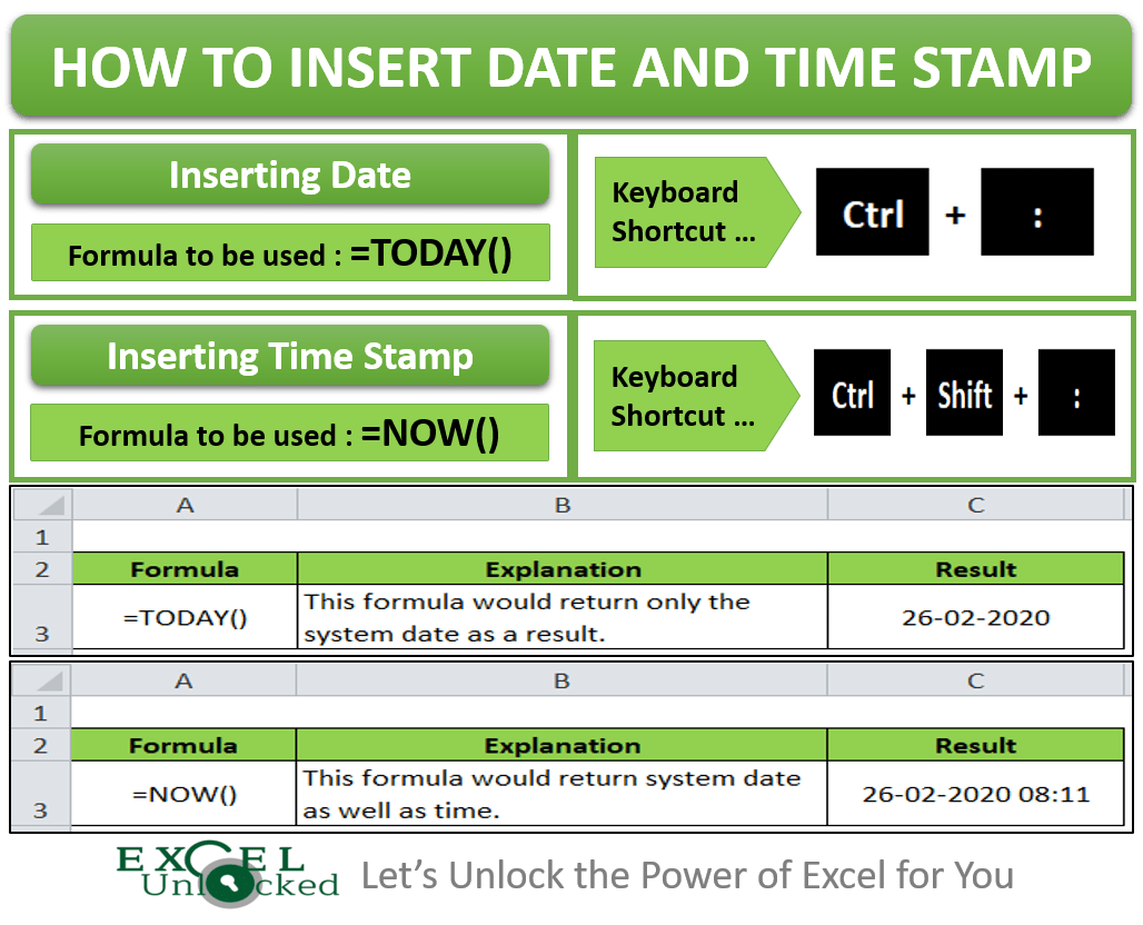 How To Insert Date And Timestamp In Excel