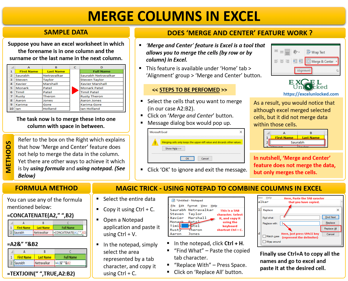 Multiple Ways To Merge Columns In Excel